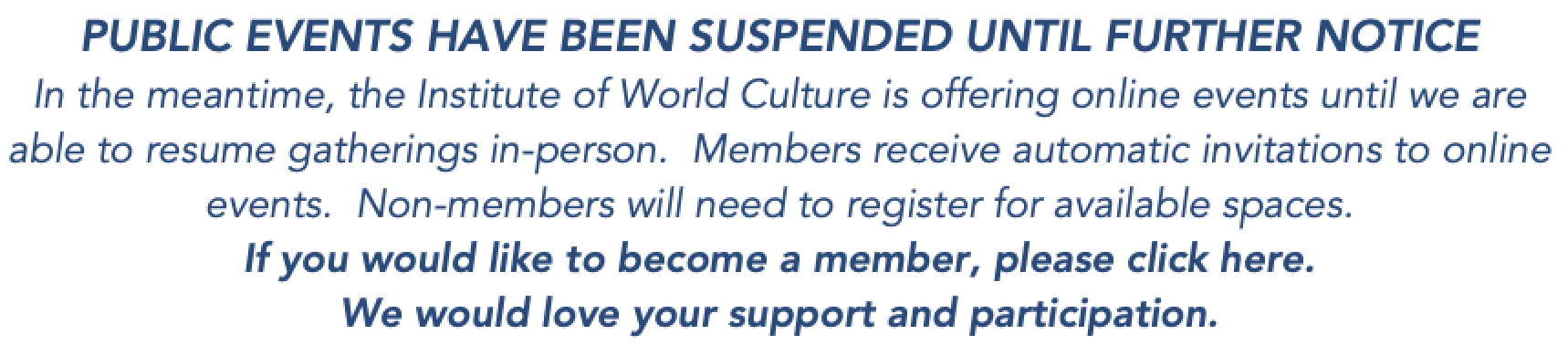 Events suspended until further notice